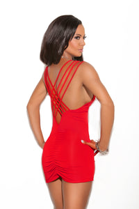 Mini Dress with Criss Cross Triple Strap and Ruched Back