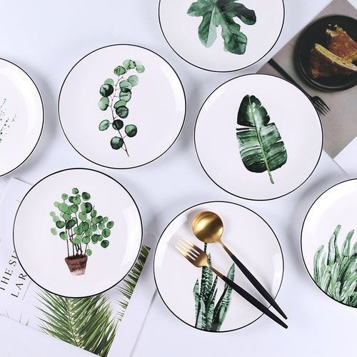 Plants Porcelain Dinner Plate Set