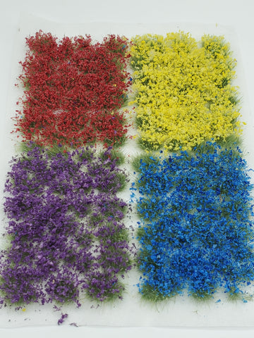 Adhesive Static grass Tufts -4mm- -Mixed Wildflowers-