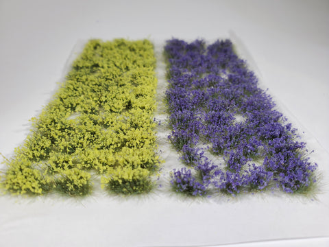 Adhesive Static grass Tufts -4mm- -Violet/Yellow Flowers-