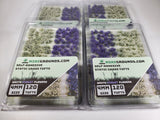 Adhesive Static grass Tufts -4mm- -Violet/White Flowers-