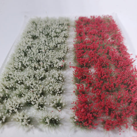 Adhesive Static grass Tufts -6mm- -Red/White Flowers-