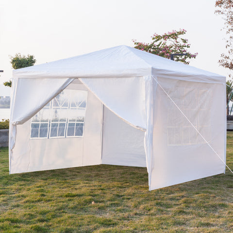 3 x 3m Portable Durable Four Sides Waterproof Tent with Spiral Tubes White