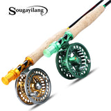 Sougayialng 2.7M Fly Fishing Rod Set #5/6 Fly Rod and Fly Reel Combo With Fishing Line Set Fishing Rod Tackle Pesca