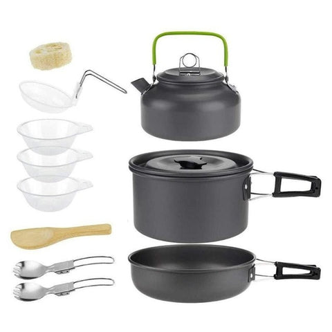 Outdoor Camping Hiking Cookware Tableware Picnic Cooking Pan Fry Pan Kettle Teapot Foldable Fork Spoon Kit Camping Picnic Tools