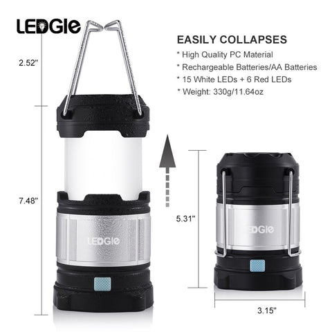 LEDGLE Rechargeable  Flashlights with 6 AA Batteries, 360 Degree Brightness Camping Light