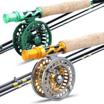 Sougayialng 2.7M #5/6  Fly Fishing Rod Combo Carbon Fiber Ultralight Weight Fly Fishing Rod and Fly Reel Gold/green Combo Pesca
