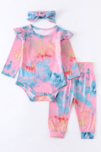 Blue Tie Dye Ruffle Romper Pants Set