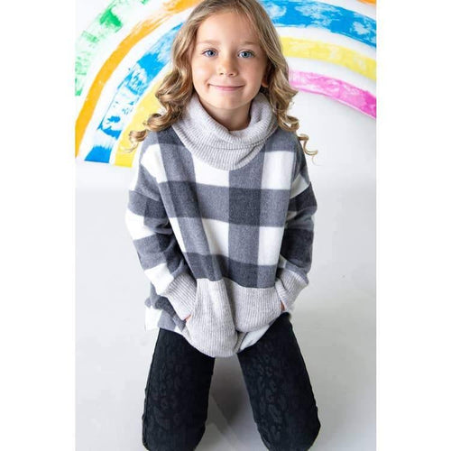 Kids Buffalo Print Sweater Top - Hummingbirdinashoebox