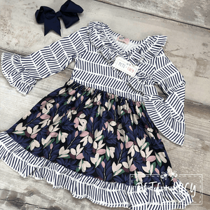 Girls Floral Print Dress by Pete & Lucy