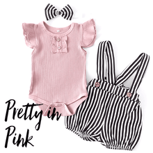Load image into Gallery viewer, Baby Girl Pink Ribbed Top and Black and White Bubble Romper