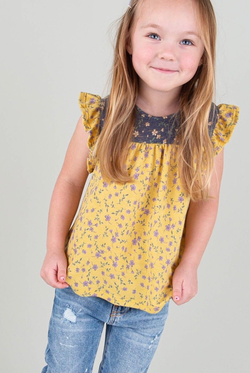 Girls Floral Yellow Sleeveless Top