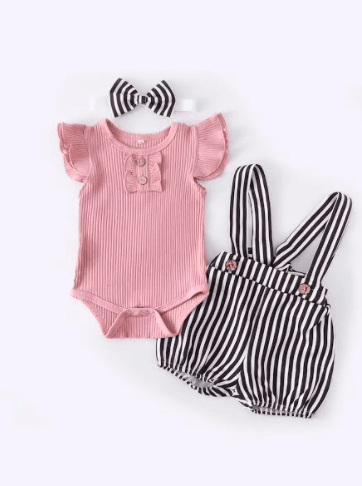 Baby Girl Pink Ribbed Top and Black and White Bubble Romper