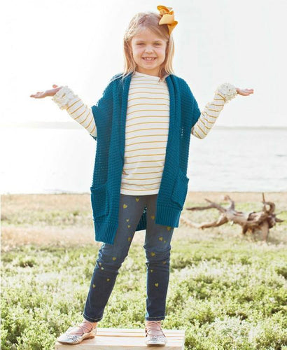 Girls Ivory & Golden Yellow Stripe Ruffled Long Sleeve Layering Tee - Hummingbirdinashoebox