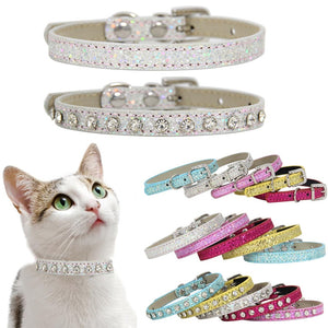SUPREPET Leather Rhinestone Cat Collar - Abound Pet Supplies