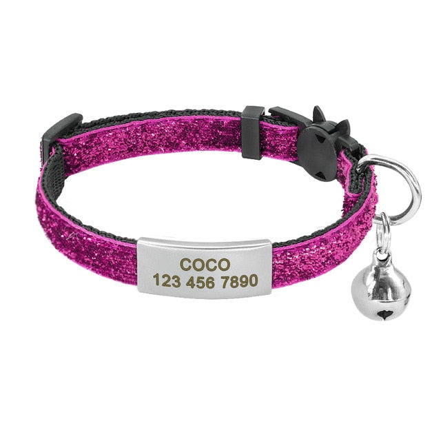 Bling Personalized Quick Release Cat Collar with Bell - Abound Pet Supplies