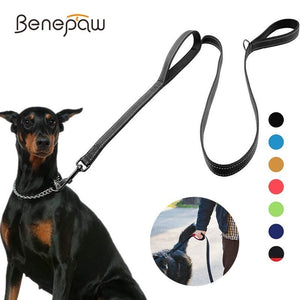 Benepaw Reflective Double Handle Padded Dog Leash - Abound Pet Supplies