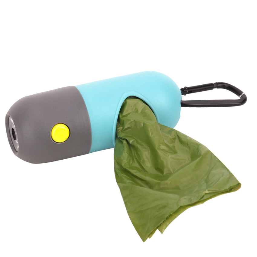 Dog Poop Bag Dispenser with Built In LED Flashlight - Abound Pet Supplies