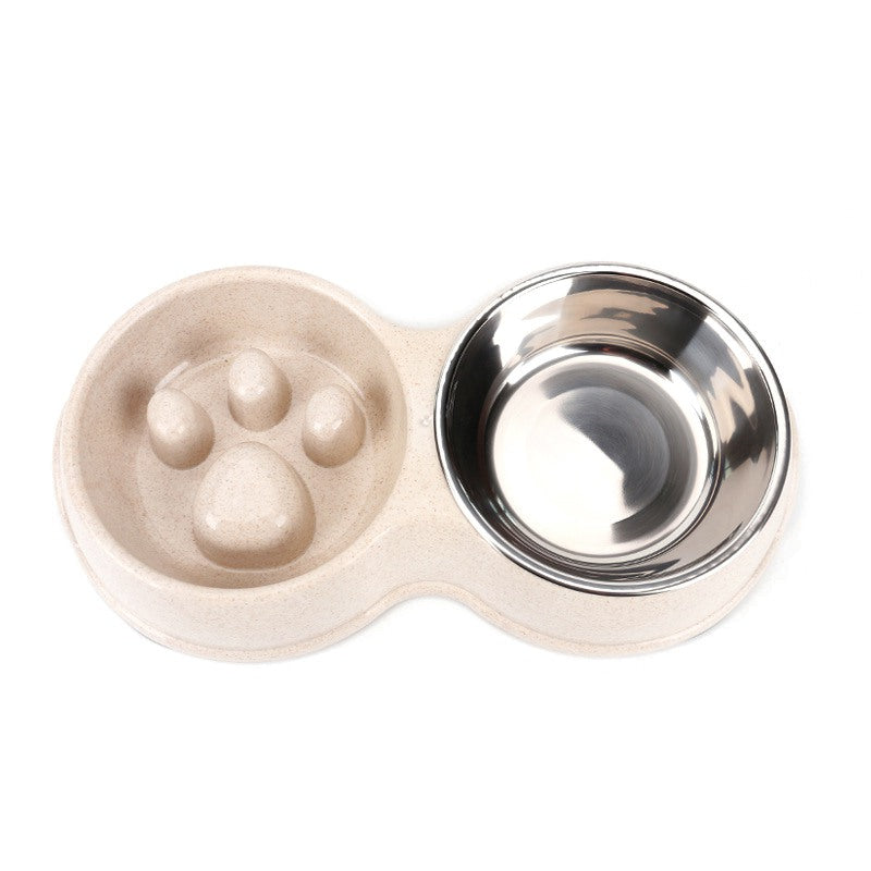 Non-Slip Slow Feeder Dog Bowl with Stainless Steel Water Bowl - Abound Pet Supplies