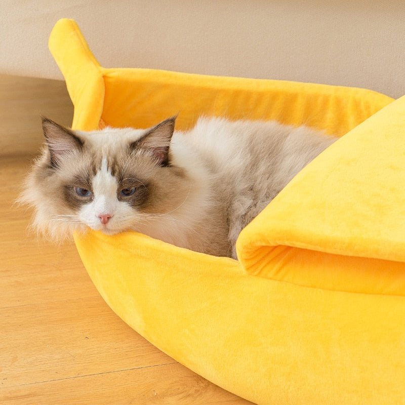 Novelty Banana Cat Bed - Abound Pet Supplies