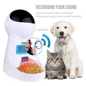 Iseebiz 3L Automatic Pet Feeder With Voice Recording - Abound Pet Supplies
