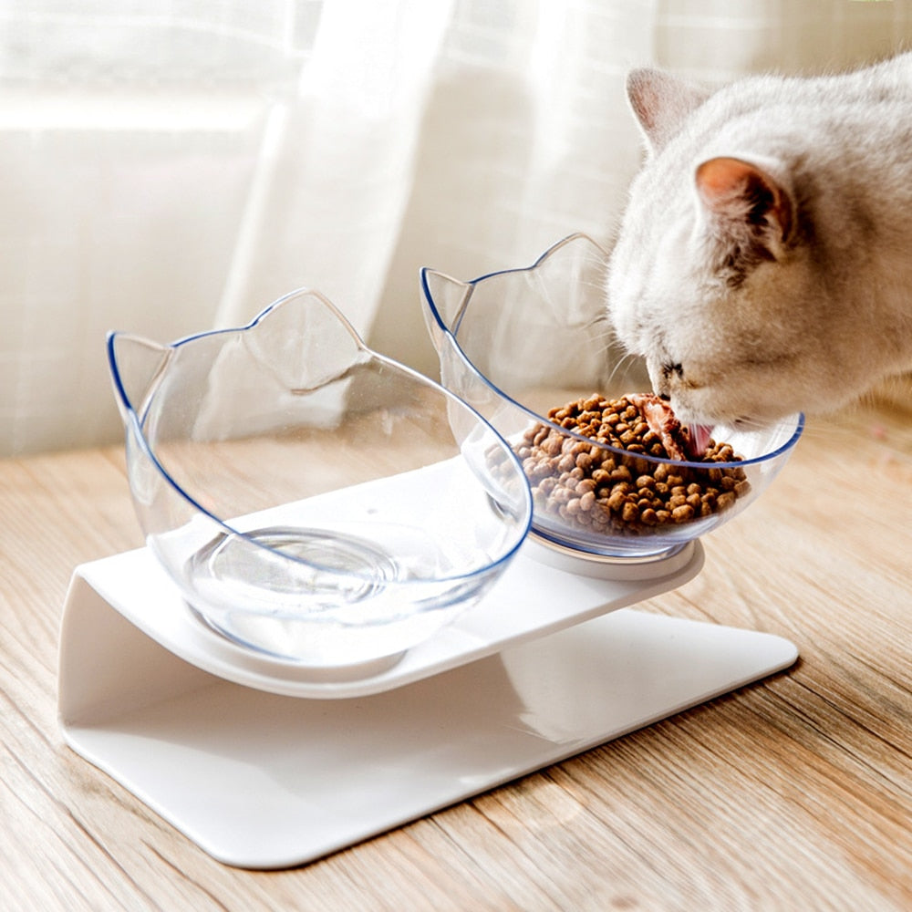 Creative Dual Raised Cat Food Bowl Set - Abound Pet Supplies