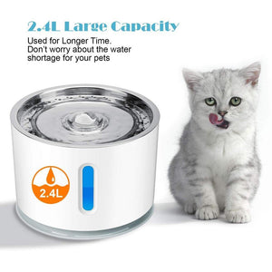2.4L Stainless Steel Cat Water Fountain - Abound Pet Supplies