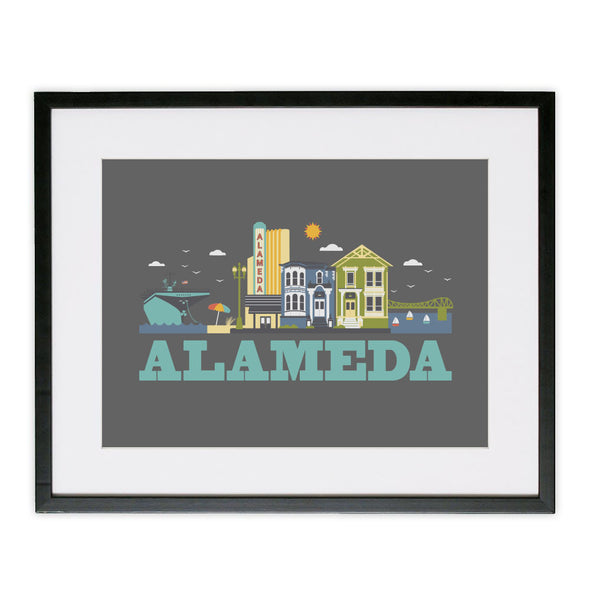ALAMEDA CITYSCAPE POSTER GREY