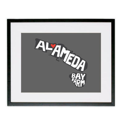 ALAMEDA/BAY FARM HEART POSTER GREY
