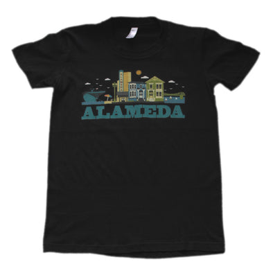 ALAMEDA CITYSCAPE WOMENS TEAL SCRIPT COTTON SHORT SLEEVE TEE