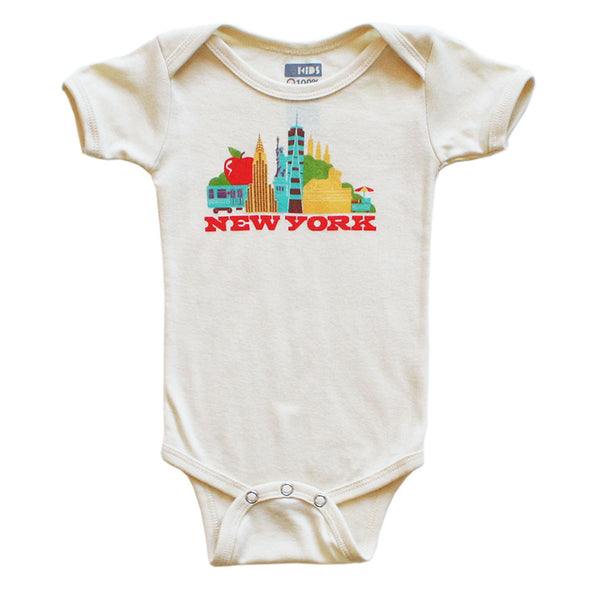 NEW YORK CITYSCAPE KIDS SHORT SLEEVE ONEPIECE
