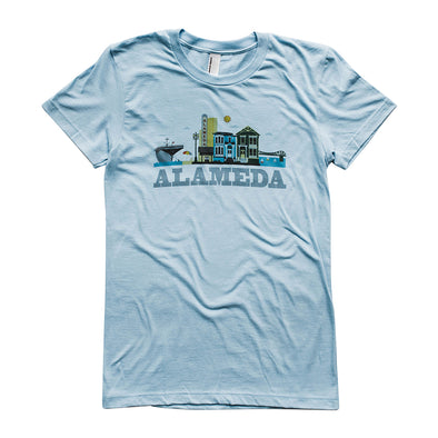 ALAMEDA CITYSCAPE WOMENS GREY SCRIPT COTTON SHORT SLEEVE TEE