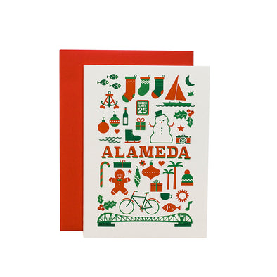 NOTECARD RETRO ALAMEDA HOLIDAY SINGLE