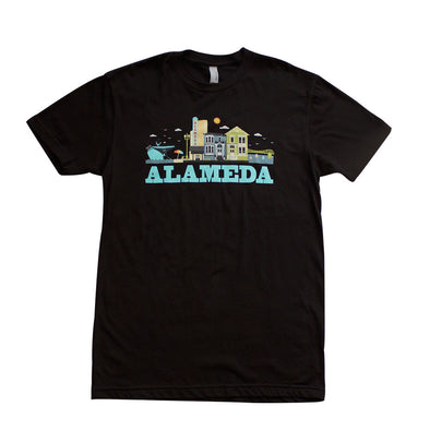 ALAMEDA CITYSCAPE MENS TEAL SCRIPT COTTON SHORT SLEEVE TEE