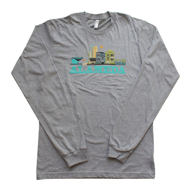 ALAMEDA CITYSCAPE MENS TEAL SCRIPT BLENDED LONG SLEEVE TEE