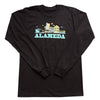 ALAMEDA CITYSCAPE MENS TEAL SCRIPT COTTON LONG SLEEVE TEE