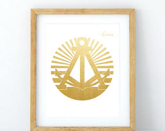 DOODLES INK GOLD FOIL ALAMEDA ANCHOR HOME POSTER PRINT