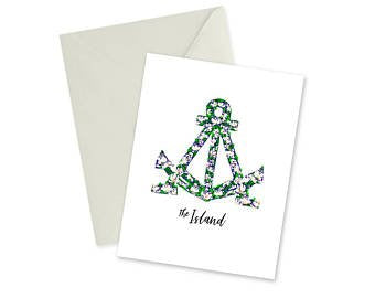 DOODLES INK ALAMEDA FLORAL ANCHOR NOTECARD