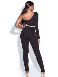Tina| One Shoulder Sequined Crepe Jumpsuit