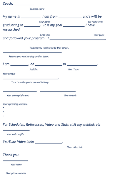 Recruiting Email Template Next play Athletics