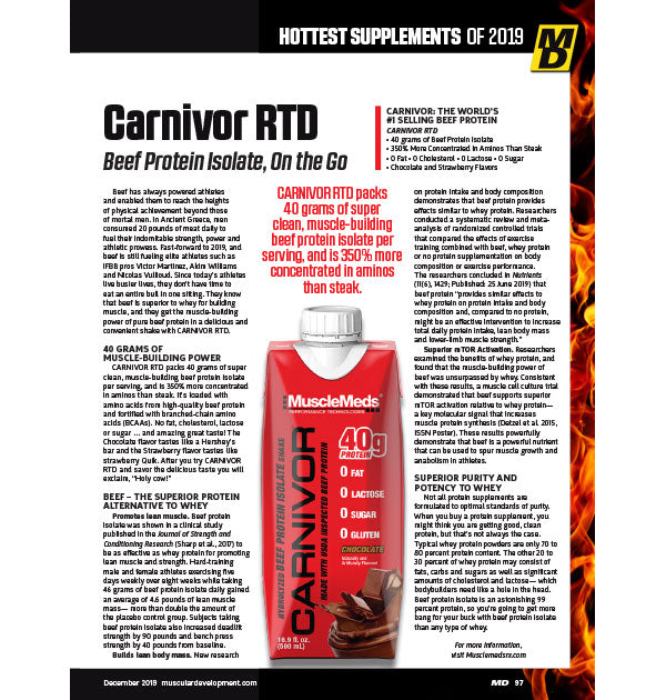 CARNIVOR RTD FEATURES IN MD'S HOTTEST SUPPLEMENTS OF 2019