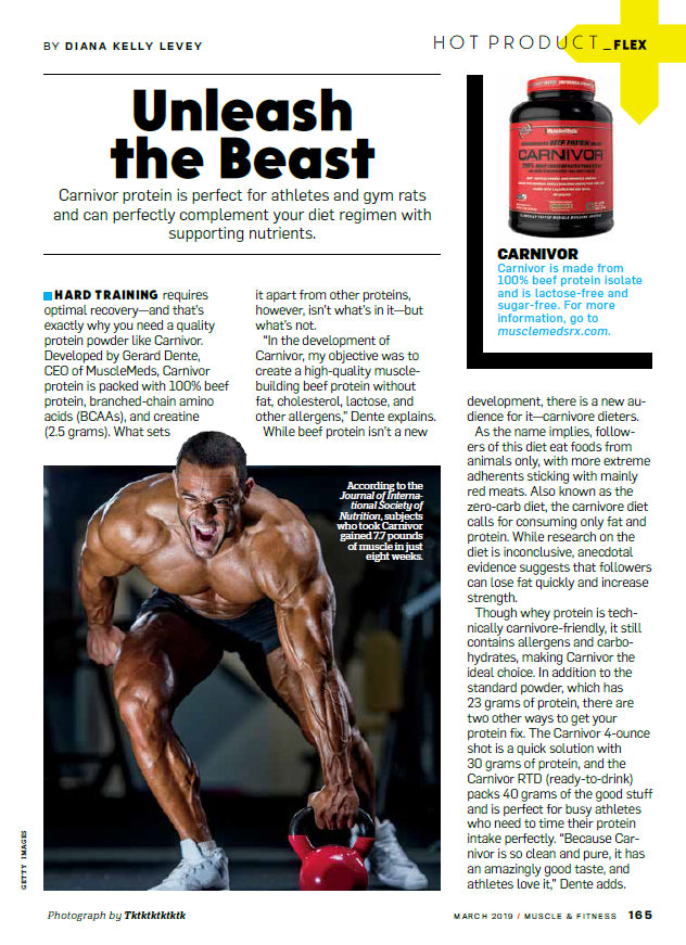 MUSCLE & FITNESS : CARNIVOR PROTEIN IS PERFECT FOR ATHLETES AND GYM RATS!