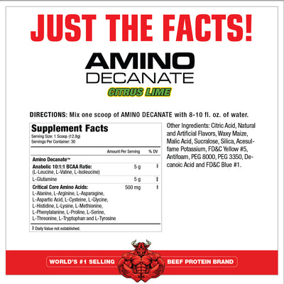 AminoDecanate CITRUS LIME SUPPLEMENT FACTS