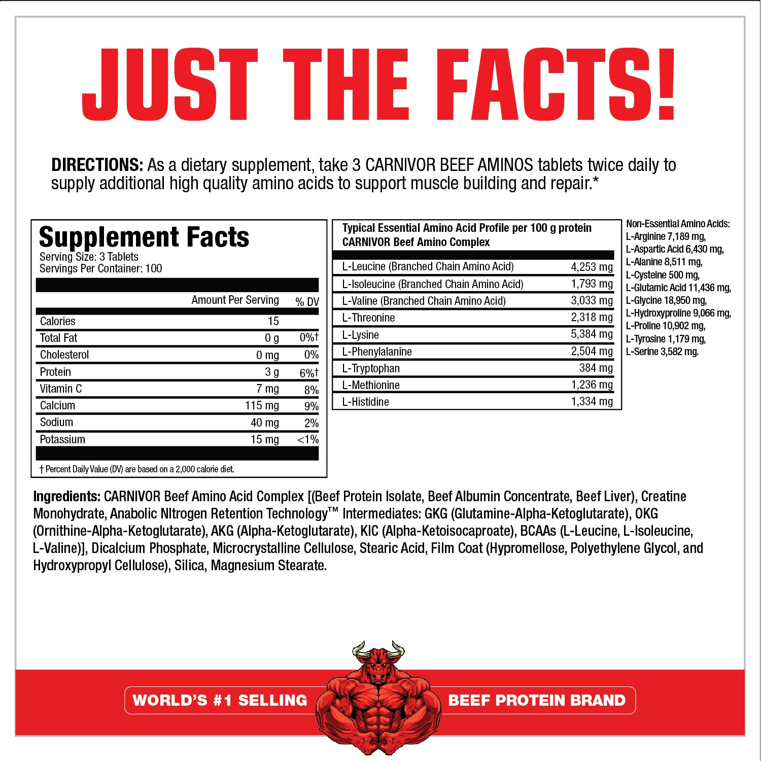 BEEF AMINOS SUPPLEMENT FACTS