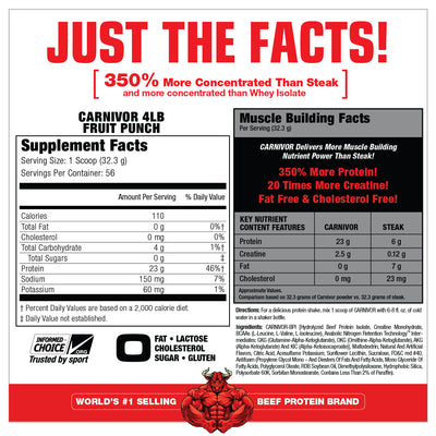 CARNIVOR 4LB BOTTLE FRUIT PUNCH SUPPLEMENT FACTS