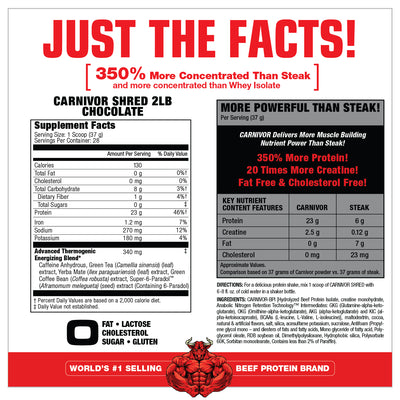CARNIVOR SHRED CHOCOLATE 2 LB SUPPLEMENT FACTS
