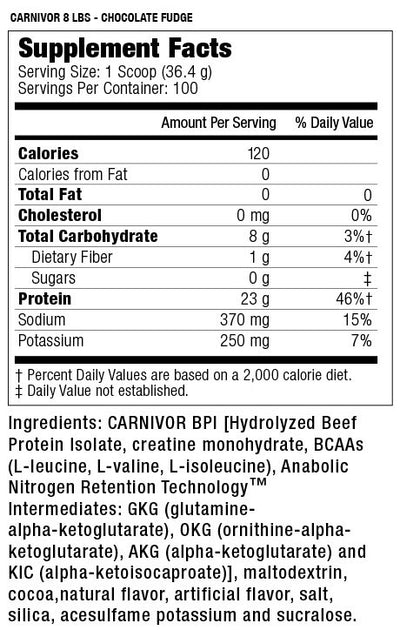 Carnivor Mass 8 lbs - Chocolate Fudge - Supplement Facts