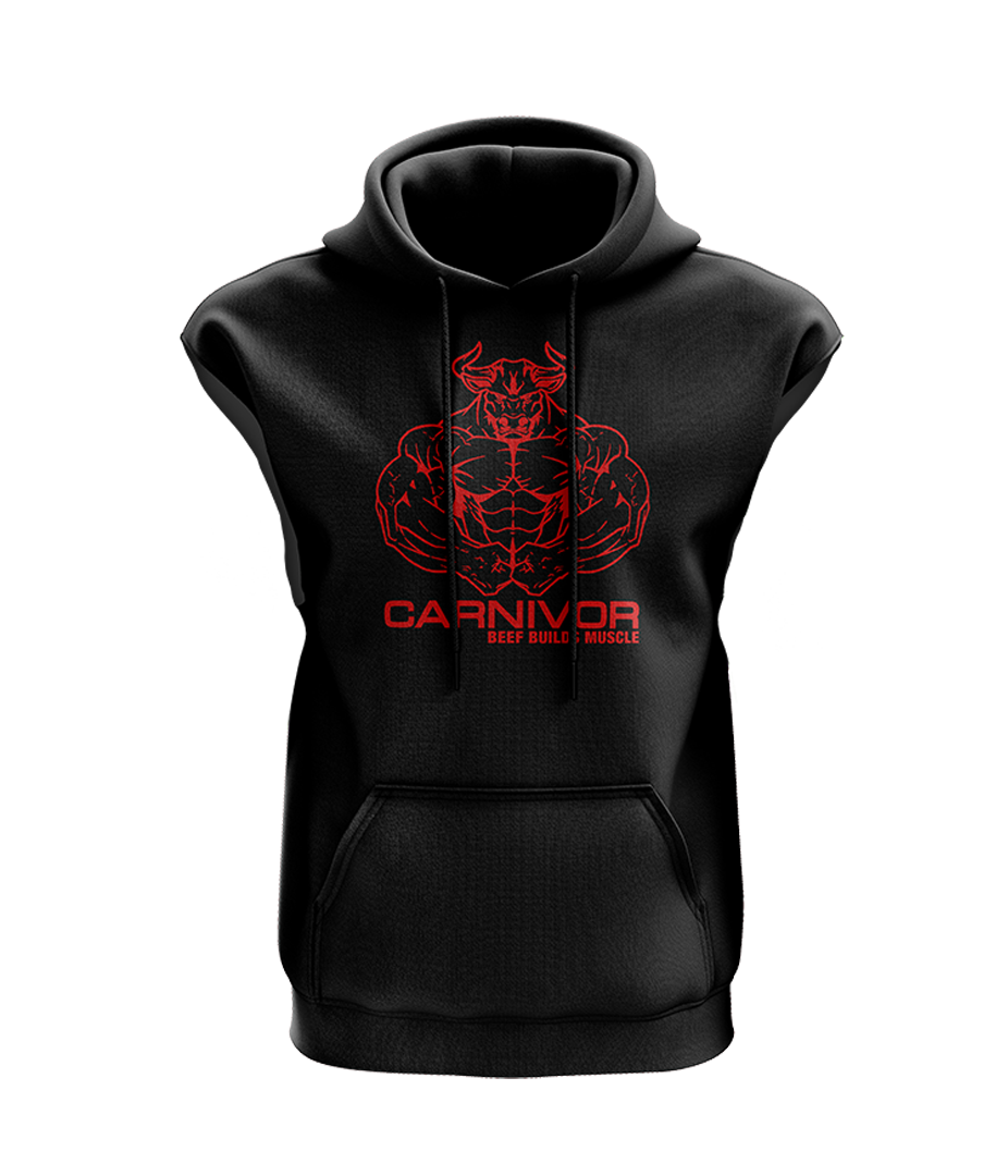 Sleeveless Carnivor Bull Hoodie - Black - FREE on order $50+
