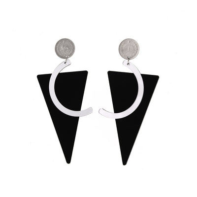 Triangle Earrings with Pahlavi Coins - Kowli Shop