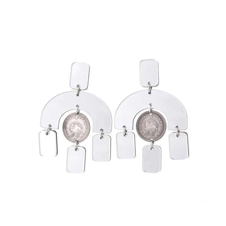 Mirror Arch Earrings with Pahlavi Coins - Kowli Shop